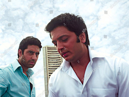 Indian film actor Abhishek Bachchan and Ritesh Deshmukh in the film 'Bluffmaster'.