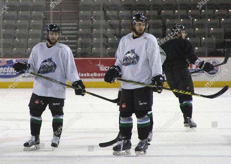 Shows Liam Stewart, second from right, during practice for the Alaska Aces hockey team in Anchorage, Alaska. Stewart, the son of rock superstar Rod Stewart and supermodel Rachel Hunter, says he just wants to be treated as one of the guys
