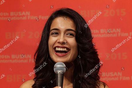"Mozez Singh Indian actress Sarah Jane Dias smiles during a press conference for the Busan International Film Festival opening movie "" Zubaan"" in Busan, South Korea"