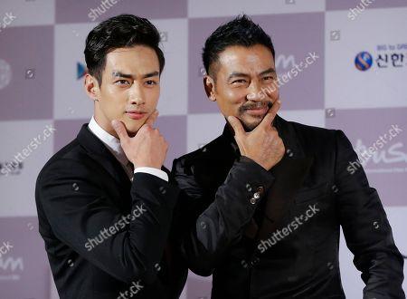Simon Yam, Han Ji-seok Hong Kong actor Simon Yam, right, and South Korean actor Han Ji-seok pose as they arrive to attend the opening ceremony of the Busan International Film Festival at Busan Cinema Center in Busan, South Korea