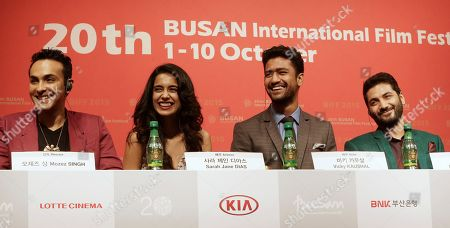"""Sarah Jane Dias, Mozez Singh, Vicky Kaushal, Raaghav Chanana From left, Indian director Mozez Singh, actress Sarah Jane Dias, actor Vicky Kaushal and actor Raaghav Chanana smile during a press conference for the Busan International Film Festival opening movie """" Zubaan"""" in Busan, South Korea, Thursday, Oct.1, 2015"""