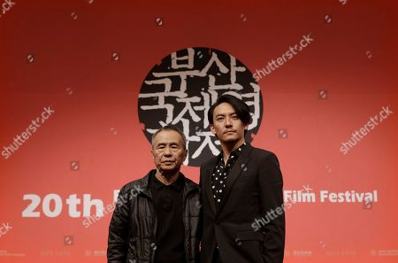 """Hou Hsiao-hsien, Chang Chen Taiwanese director Hou Hsiao-hsien, left, poses with Taiwanese actor Chang Chen at the gala presentation of their film """"The Assassin"""" during the Busan International Film Festival in Busan, South Korea, . Asia's largest film festival opened its doors on Thursday for 10 days of screenings that will highlight the region's young talent and its rich heritage"""