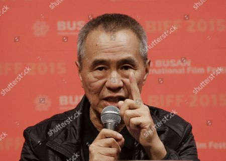 """Stock Photo of Hou Hsiao-hsien Taiwanese director Hou Hsiao-hsien speaks at the gala presentation of his film """"The Assassin"""" during the Busan International Film Festival in Busan, South Korea, . Asia's largest film festival opened its doors on Thursday for 10 days of screenings that will highlight the region's young talent and its rich heritage"""