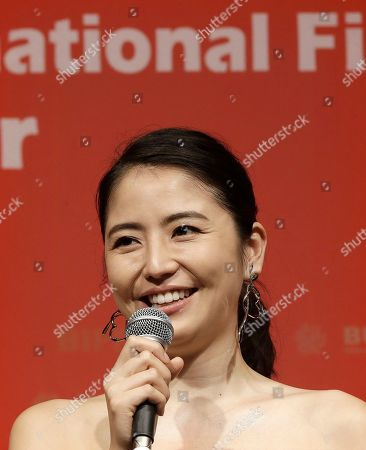 """Stock Picture of Masami Nagasawa Japanese actress Masami Nagasawa speaks in the Gala Presentation """"Little Sister"""" during the Busan International Film Festival in Busan, South Korea, . Asia's largest film festival opened its doors on Thursday for 10 days of screenings that will highlight the region's young talent and its rich heritage"""
