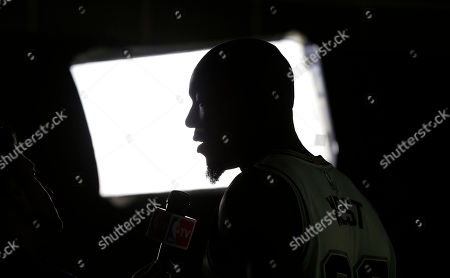Stock Image of David West San Antonio Spurs' David West (30) takes part in an interview during media day at the team's facility, in San Antonio