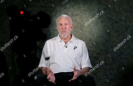 Gregg Popovich San Antonio Spurs head coach Gregg Popovich talks gives an interview during media day, in San Antonio