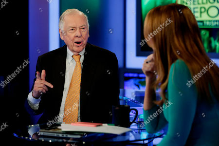 """T. Boone Pickens T. Boone Pickens appears on the """"The Intelligence Report with Trish Regan"""" program, on the Fox Business Network, in New York"""