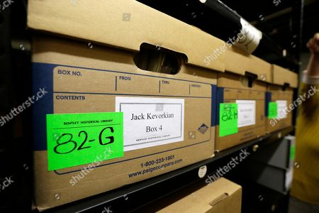In a photo from, in Ann Arbor, Mich., boxes containing files on assisted suicide that belonged to Dr. Jack Kevorkian are stored at the Bentley Historical Library. The archive was donated by Ava Janus, Kevorkian's niece and sole heir
