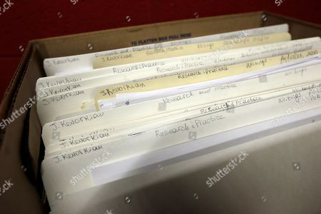 Stock Picture of In a photo from, in Ann Arbor, Mich., a box containing files on assisted suicide that belonged to Dr. Jack Kevorkian are stored at the Bentley Historical Library. The archive was donated by Ava Janus, Kevorkian's niece and sole heir