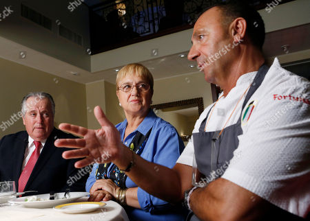 Angelo Vivolo, Lidia Bastianich, Fortunato Nictora Restaurateur Angelo Vivolo, and owner Lidia Bastianich, center, listen as Felidia executive chef Fortunato Nicotra, right, describes the food they plan to serve Pope Francis during his time in New York