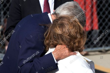 Teresa Heinz Kerry, John Kerry Secretary of State John Kerry, left, hugs his wife Teresa Heinz Kerry, as they arrive at a farewell ceremony for Pope Francis at Andrews Air Force Base, Md., before the Pope left for New York from Washington, on