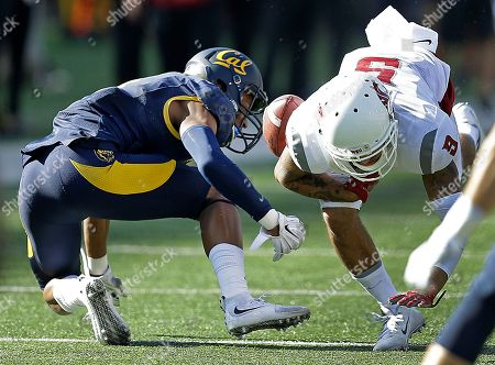 Gabe Marks, Darius White Washington State's Gabe Marks, right, is stripped of the ball by California's Darius White during the second half of an NCAA college football game, in Berkeley, Calif. California won the game 34-28