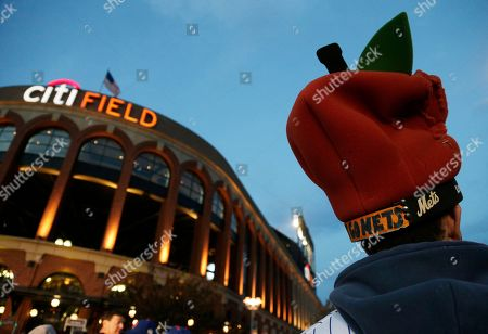 Stock Image of Steve Rosen, Manalapan, NJ, stands outside Citi Field Stadium before Game 5 of the Major League Baseball World Series between the New York Mets and Kansas City Royals, in New York