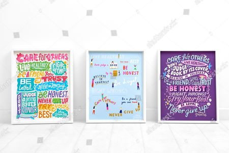The three Princess Principles posters by (left to right) Kate Moross, Rose Blake and Kate Forrester
