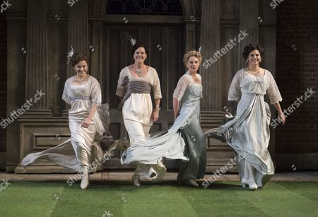 Stock Image of Rebecca Collingwood as Katharine, Leah Whitaker as Princess of France, Lisa Dillon as Rosaline, Paige Carter as Maria