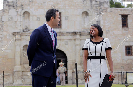 George P. Bush, Ivy Taylor Texas Land Commissioner George P. Bush, left, talks with San Antonio Mayor Ivy Taylor before a news conference to celebrate the $31.5 million the General Land Office received for the preservation and development of the Alamo, in San Antonio