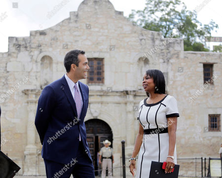Stock Photo of George P. Bush, Ivy Taylor Texas Land Commissioner George P. Bush, left, talks with San Antonio Mayor Ivy Taylor before a news conference to celebrate the $31.5 million the General Land Office received for the preservation and development of the Alamo, in San Antonio