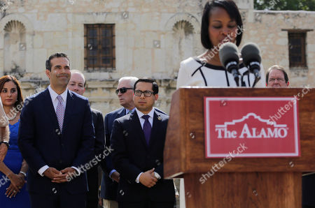 Stock Picture of George P. Bush, Ivy Taylor Texas Land Commissioner George P. Bush, left, listens to San Antonio Mayor Ivy Taylor during a news conference to celebrate the $31.5 million the General Land Office received for the preservation and development of the Alamo, in San Antonio