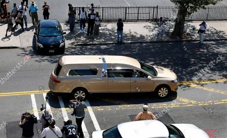 A hearse leaves after a service for Bobbi Kristina Brown at Whigham funeral home in Newark, N.J., early . Bobbi Kristina, the only child of Whitney Houston and R&B singer Bobby Brown, died in hospice care July 26, about six months after she was found face-down and unresponsive in a bathtub in her suburban Atlanta townhome