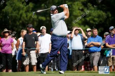 Stock Picture of Brendon de Jonge Brendon de Jonge, of Zimbabwe, tees off on the third hole during the third round of the Deutsche Bank Championship golf tournament in Norton, Mass