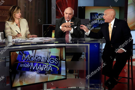"""Richard Grasso, Ken Langone, Maria Bartiromo Ken Langone, center, a co-founder of Home Depot, and former New York Stock Exchange Chairman Richard Grasso, right, are interviewed by Maria Bartiromo on her """"Mornings with Maria"""" program, on the Fox Business Network, in New York"""