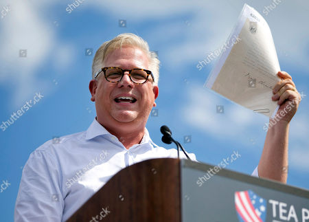 Stock Picture of Glenn Beck Radio host Glenn Beck speaks during a Tea Party rally against the Iran deal on the West Lawn of the Capitol in Washington. SiriusXM announced May 31, 2016, that Beck was being suspended over his comments in a May 25, 2016, interview with author Brad Thor