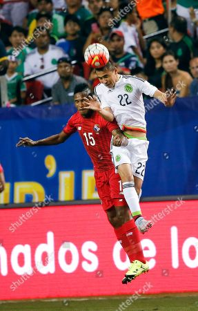 Paul Aguilar, Erick Davis Mexico's Paul Aguilar (22) heads the ball over Panama's Erick Davis (15) during the first half of a CONCACAF Gold Cup soccer match, in Atlanta