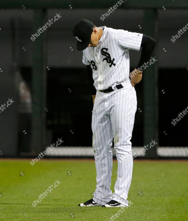 Stock Picture of Trayce Thompson Chicago White Sox's Trayce Thompson reacts after committing a fielding error on an RBI single by Cleveland Indians' Chris Johnson during the eighth inning of a baseball game, in Chicago