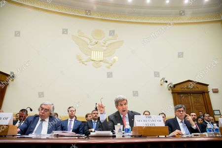 John Kerry, Jacob Lew, Ernest Moniz Secretary of State John Kerry, center, flanked by Treasury Secretary Jacob Lew, right, and Energy Secretary Ernest Moniz, testifies on Capitol Hill in Washington, before the House Foreign Affairs Committee hearing on the Iran Nuclear Agreement. Kerry pitched the administration's controversial nuclear deal with Iran to a skeptical House Foreign Affairs Committee on Tuesday, pushing back against the allegation it would ease crippling sanctions forever in exchange for temporary concessions on weapons development