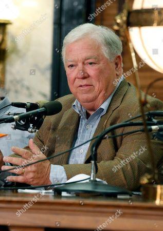 """Haley Barbour Graph, former Mississippi Gov. Haley Barbour speaks about a memoir he penned about Katrina called """"America's Great Storm,"""" at the Mississippi Book Festival at the state Capitol in Jackson, Miss. A two-term governor, Barbour was the face of the state's efforts to rebuild the coast"""