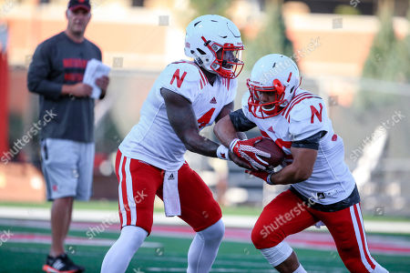 Jordan Nelson, Tommy Armstrong Jr Nebraska quarterback Tommy Armstrong Jr. (4) hands the ball off to Nebraska running back Jordan Nelson, right, during NCAA college football practice in Lincoln, Neb
