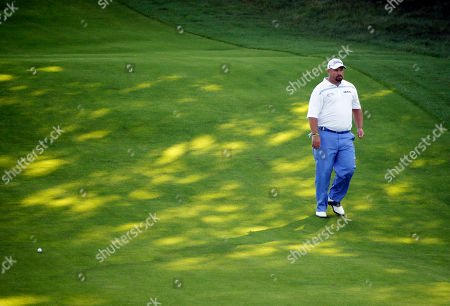 Brendon de Jonge, of Zimbabwe, looks over his approach on the 18th hole during the second round of the PGA Championship golf tournament, at Whistling Straits in Haven, Wis