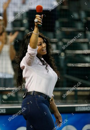CeCe Peniston Pop singer CeCe Peniston acknowledges the crowd after singing the national anthem prior to a baseball game between the Philadelphia Phillies and the Arizona Diamondbacks, in Phoenix