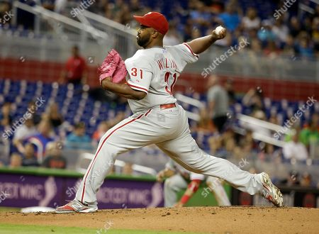 Jerome Williams Philadelphia Phillies starting pitcher Jerome Williams (31) throws in the first inning of a baseball game against the Miami Marlins, in Miami