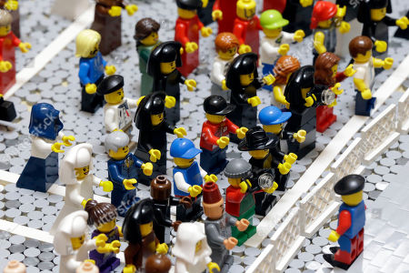 Editorial picture of Pope Legos, Philadelphia, USA
