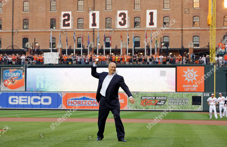 Cal Ripken Jr Former Baltimore Oriole Cal Ripken, Jr., throws out the ceremonial first pitch to mark the twentieth anniversary of his streak of 2,131 straight games before a baseball game between the Orioles and the Tampa Bay Rays, in Baltimore
