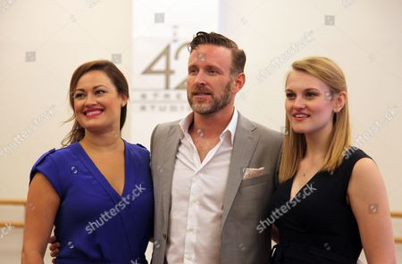 """From left, Ashley Brown, who will portray Mother Abbess, Ben Davis, who will portray Captain Von Trapp, and Kerstin Anderson, who will portray Maria appear during a press day for the national tour of """"The Sound of Music,"""" in New York. The production will travel to Boise, Idaho from Sept. 14-15, before heading to Los Angeles from Sept. 20 - Oct. 31"""