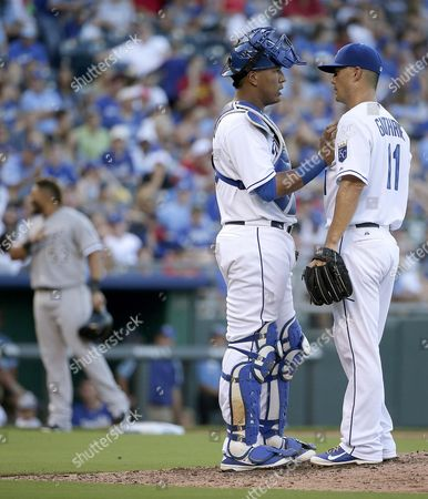 Salvador Perez Kansas City Royals catcher Salvador Perez, front left, and starting pitcher Jeremy Guthrie talk on the mound during the fourth inning of a baseball game against the Chicago White Sox, in Kansas City, Mo