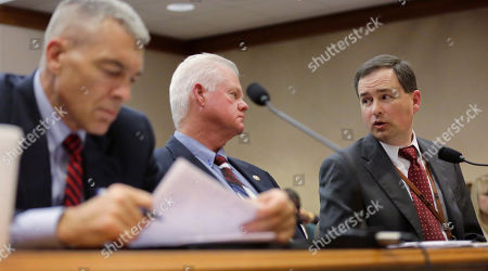 Stock Picture of Texas Department of Public Safety Deputy Director Steve McCraw, left, Limestone County Sheriff Dennis Wilson, center, and Executive Director of the Texas Commission on Jail Standards, Brandon Wood, right, testify before the Texas County Affairs Committee hearing to discuss jail standards, in Austin, Texas. The hearing is the first time lawmakers are meeting to discuss the circumstances surrounding the death of Sandra Bland. Authorities say Bland hanged herself in jail on July 13, a finding that her family has questioned