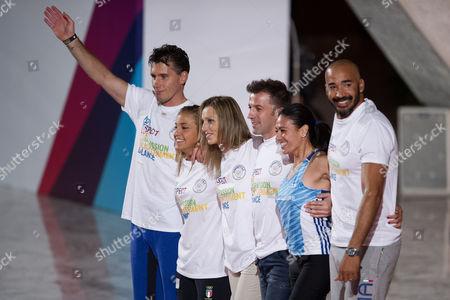 Athletes Igor Cassina, Odette Giuffrida, Valentina Vezzali, Alex Del Piero, Giusy Versace, Amaurys Perez