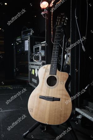 Cardiff United Kingdom - December 16: A Taylor Grand Auditorium Nylon- String Acoustic Guitar Belonging To American Musician Joel Hoekstra Guitarist With Rock Group Whitesnake Photographed Backstage Before A Live Performance At The Motorpoint Arena In Cardiff On December 16