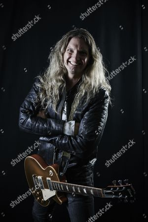 Cardiff United Kingdom - December 16: Portrait Of American Musician Joel Hoekstra Guitarist With Hard Rock Group Whitesnake Photographed Backstage Before A Live Performance At The Motorpoint Arena In Cardiff On December 16