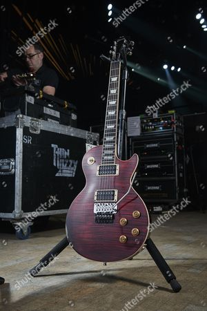Cardiff United Kingdom - December 16: A Gibson Les Paul Axcess Standard Electric Guitar Belonging To American Musician Scott Gorham Guitarist With Hard Rock Group Black Star Riders Photographed Backstage Before A Live Performance At The Motorpoint Arena In Cardiff On December 16
