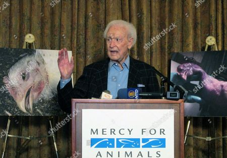 "Stock Image of Bob Barker, former host of ""The Price is Right"" and a longtime animal rights advocate, speaks during a news conference in downtown Los Angeles on . Barker criticized poultry producer Foster Farms after an animal-rights group released video showing chickens being slammed upside-down into shackles, punched and having their feathers pulled out while still alive. California-based Foster Farms says it has suspended five employees"