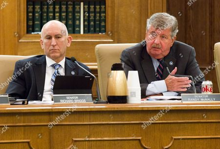 Randy McNally, Richard Briggs Republican Sens. Randy McNally of Oak Ridge, right, and Richard Briggs of Knoxville participate in a hearing at the legislative office complex in Nashville, Tenn.,, about physician-assisted suicide