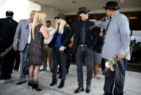Richie Sambora, Orianthi Panagaris Richie Sambora, second from right, and his girlfriend Orianthi Panagaris hold hands outside of a funeral home after a memorial service for B.B. King, in Las Vegas. Friends and family members gathered Saturday at a funeral home to remember the Blues legend