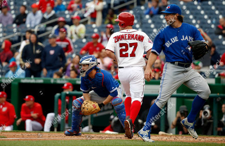 Ryan Zimmerman Washington Nationals' Jordan Zimmermann (27) scores on an RBI single by Bryce Harper, with Toronto Blue Jays catcher Josh Thole, left, and starting pitcher R.A. Dickey nearby during the fifth inning of the first baseball game in a doubleheader against the Toronto Blue Jays, in Washington