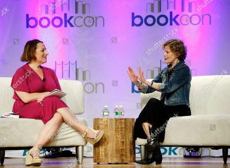 """Judy Blume; Jennifer Weiner Author Jennifer Weiner, left, listens as author Judy Blume speaks about her new book, """"In the Unlikely Event,"""" her first novel for adults in 17 years, at BookCon in New York, . The novel was inspired by a historical incident, when three planes crashed over eight weeks in Blume's hometown of Elizabeth, N.J. in the 1950s"""