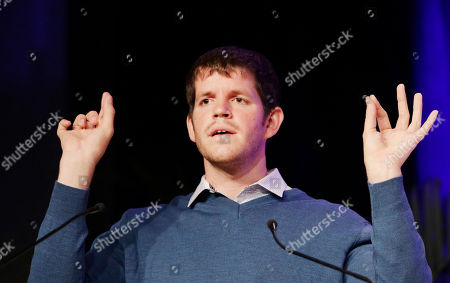 """Stock Picture of Brandon Stanton Photographer Brandon Stanton speaks at BookExpo America, in New York. His latest book, """"Humans of New York: Stories"""" is to be published in October"""