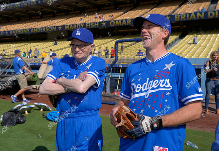 Larry King, Brian Dietzen Talk show host Larry King, left, and actor Brian Dietzen talk prior to a celebrity baseball game before a game between the Los Angeles Dodgers and the St. Louis Cardinals, in Los Angeles